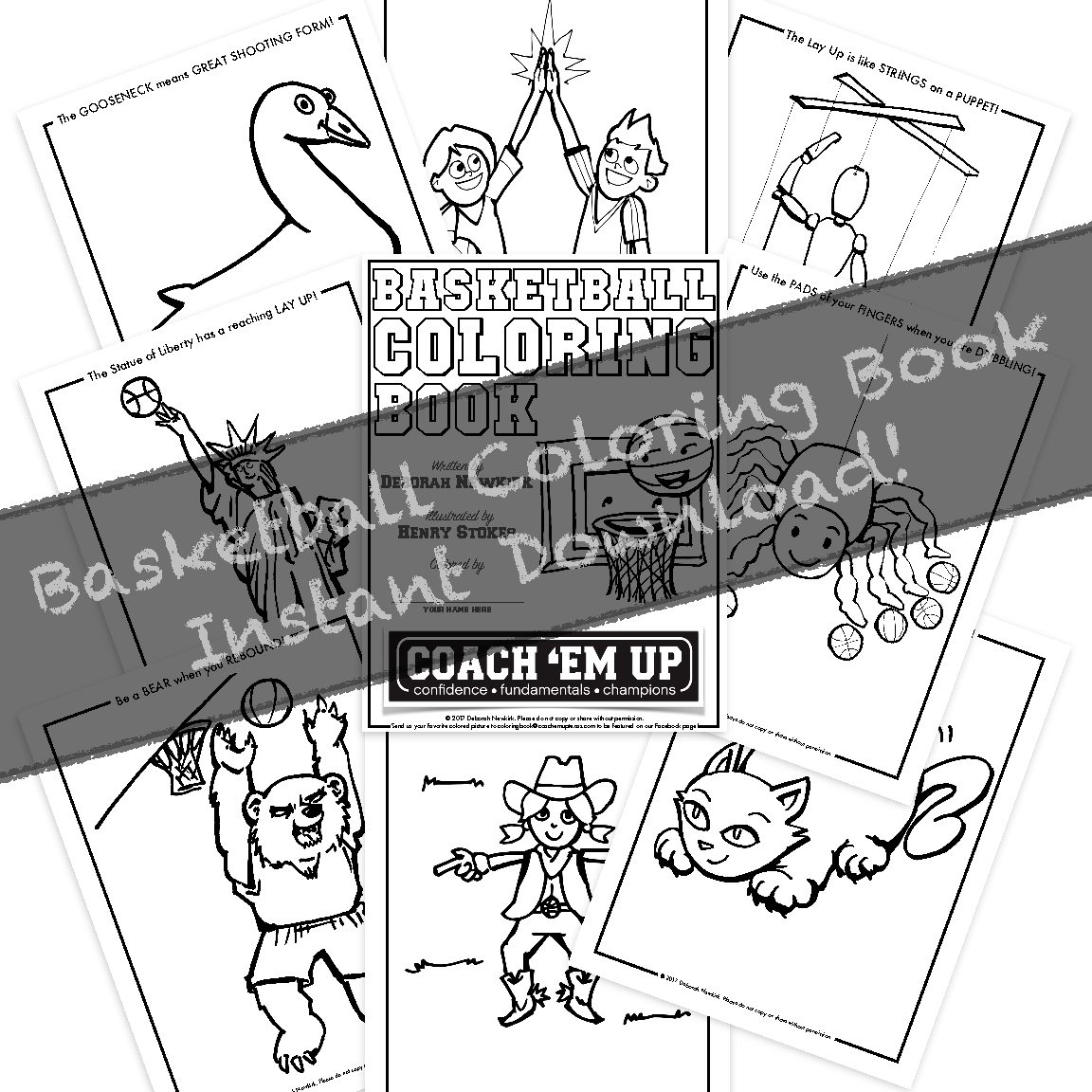Coach \'Em Up Basketball Coloring Book – Instant Download!